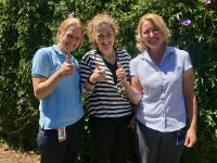Giving immunisation the thumbs up – from left – Michelle Rathjen (Immunisation Program Nurse