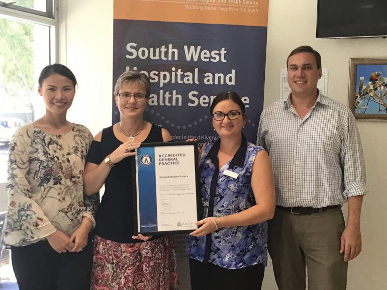 Celebrating accreditation success – from left – Mungindi Doctors Surgery administration officers Watcharobon Manop, Shelley Badcock, Rebecca Bailey and Medical Superintendent Dr John Lancashire.